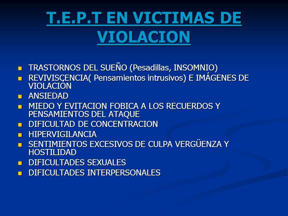 T.E.P.T EN VICTIMAS DE VIOLACION TRASTORNOS DEL SUEÑO (Pesadillas, INSOMNIO) TRASTORNOS DEL SUEÑO (Pesadillas, INSOMNIO) REVIVISCENCIA( Pensamientos i