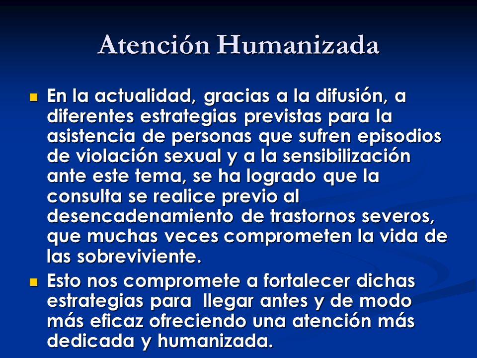 Atención Humanizada En la actualidad, gracias a la difusión, a diferentes estrategias previstas para la asistencia de personas que sufren episodios de