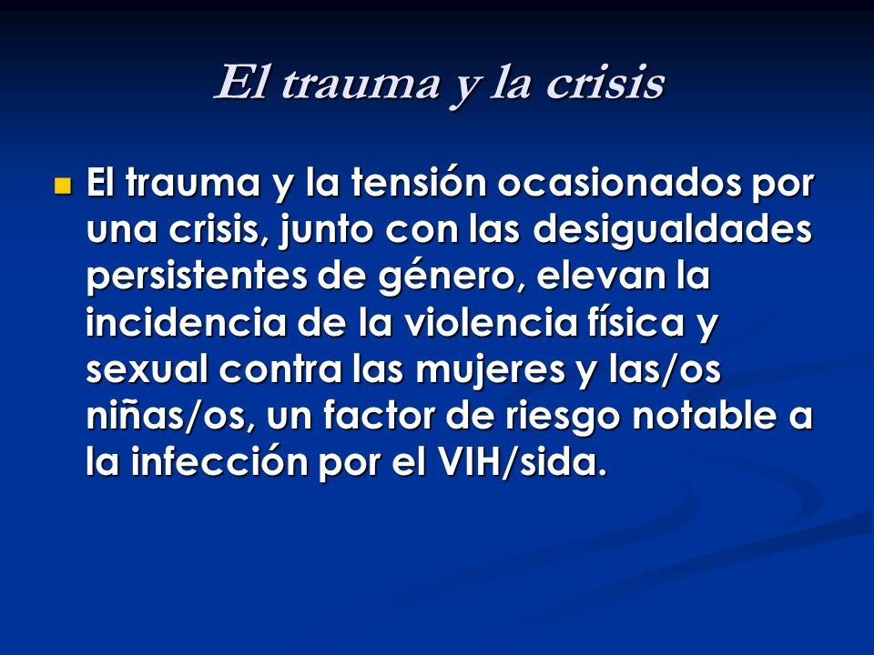 El trauma y la crisis El trauma y la tensión ocasionados por una crisis, junto con las desigualdades persistentes de género, elevan la incidencia de l