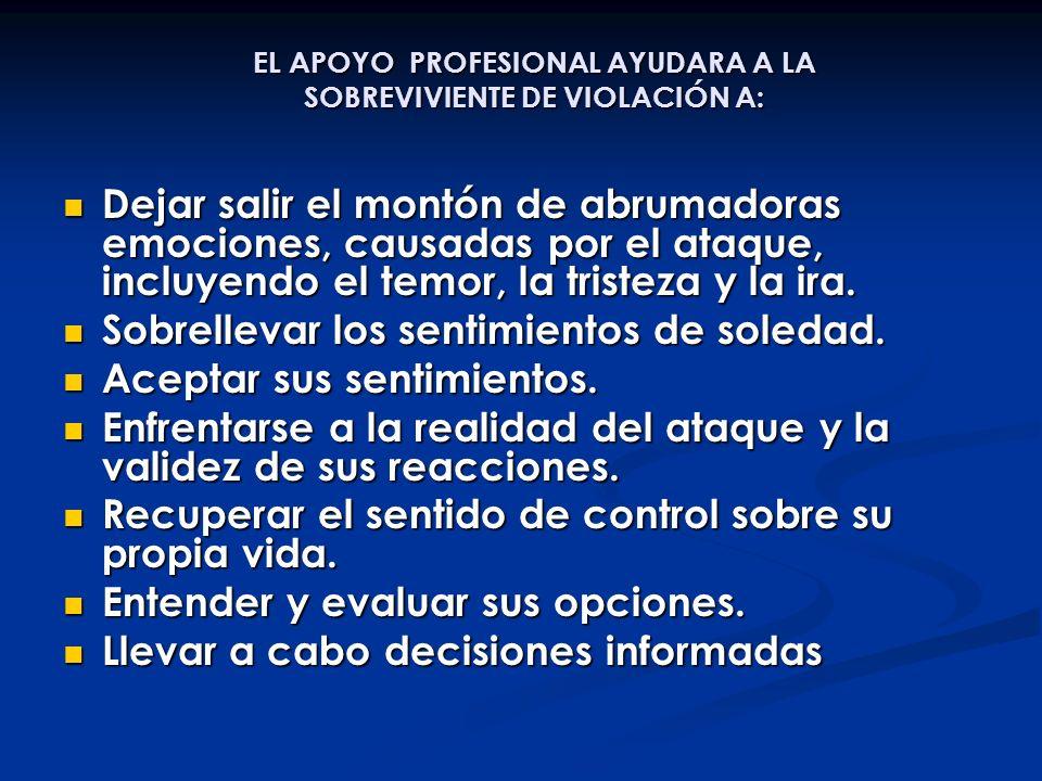 EL APOYO PROFESIONAL AYUDARA A LA SOBREVIVIENTE DE VIOLACIÓN A: Dejar salir el montón de abrumadoras emociones, causadas por el ataque, incluyendo el