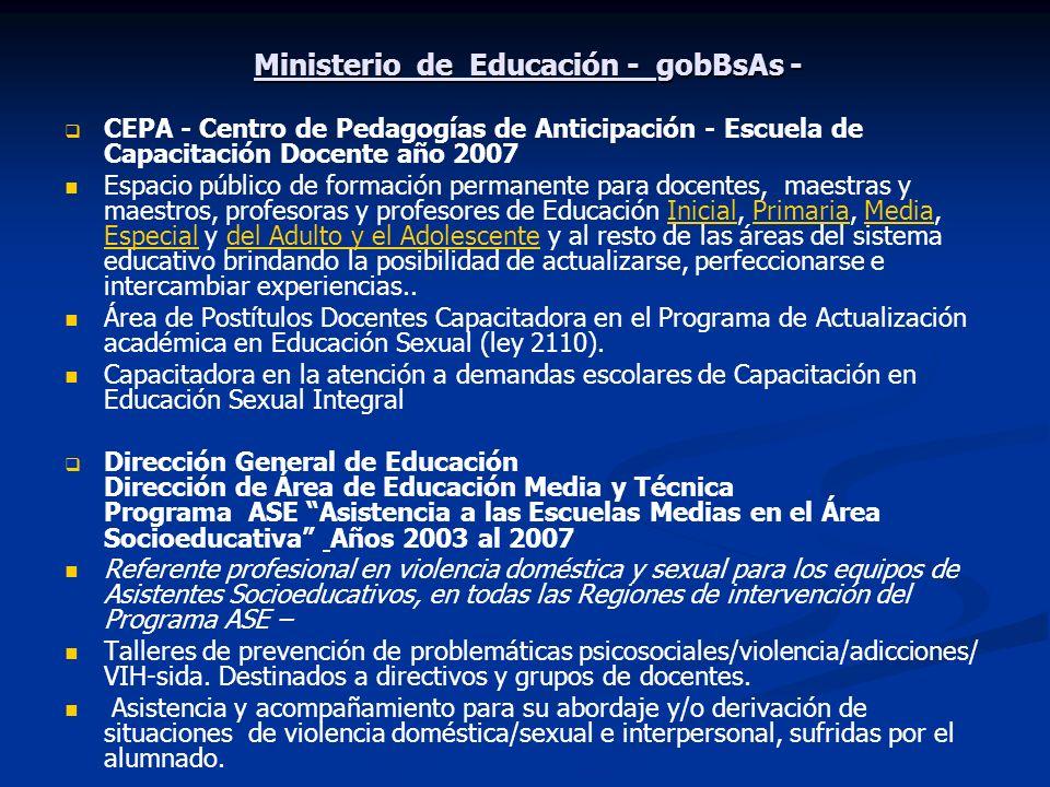 Ministerio de Educación - gobBsAs - CEPA - Centro de Pedagogías de Anticipación - Escuela de Capacitación Docente año 2007 Espacio público de formació
