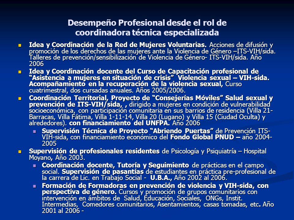Desempeño Profesional desde el rol de coordinadora técnica especializada Idea y Coordinación de la Red de Mujeres Voluntarias. Acciones de difusión y