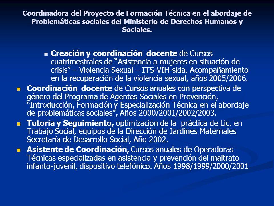 Coordinadora del Proyecto de Formación Técnica en el abordaje de Problemáticas sociales del Ministerio de Derechos Humanos y Sociales. Creación y coor