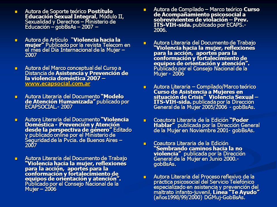 Autora de Compilado – Marco teórico Curso de Acompañamiento psicosocial a sobrevivientes de violación – Prev. ITS-VIH-sida. publicado por ECAPS.- 2006