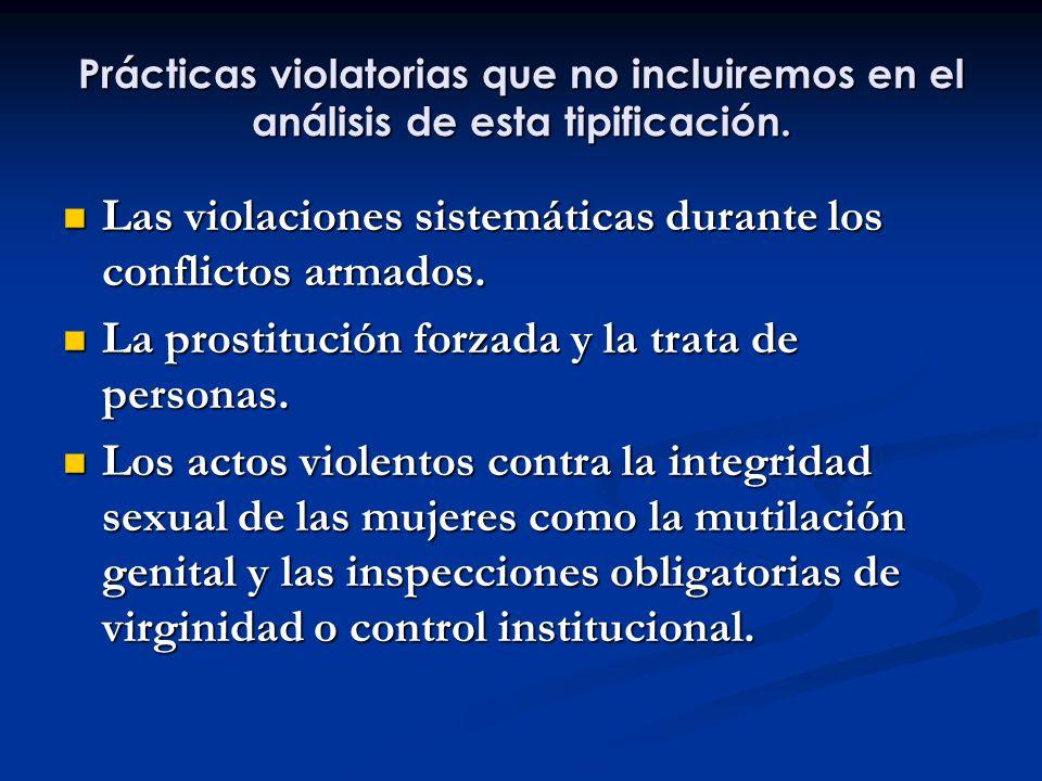 Prácticas violatorias que no incluiremos en el análisis de esta tipificación. Las violaciones sistemáticas durante los conflictos armados. Las violaci
