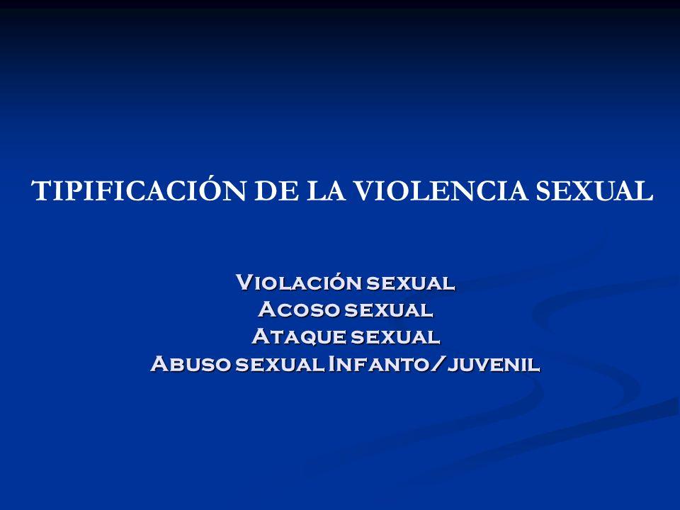 Violación sexual Acoso sexual Ataque sexual Abuso sexual Infanto/juvenil TIPIFICACIÓN DE LA VIOLENCIA SEXUAL