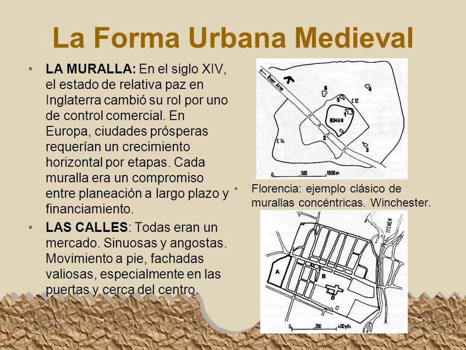 La Forma Urbana Medieval LA MURALLA: En el siglo XIV, el estado de relativa paz en Inglaterra cambió su rol por uno de control comercial.