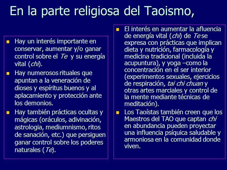 Doctrina Ética (pautas para la conducta correcta) n Armonizar en Te (el poder del TAO) y seguir el TAO. n Practicar wu-wei (no-hacer). n Seguir el cam