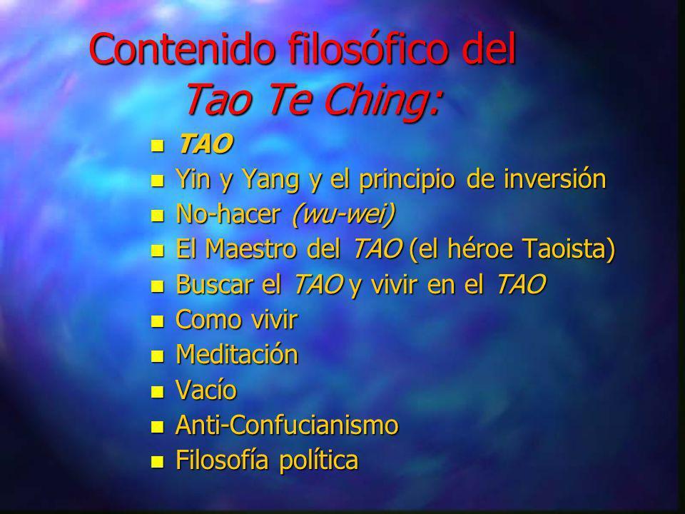 En la parte religiosa del Taoismo, n Hay un interés importante en conservar, aumentar y/o ganar control sobre el Te y su energía vital (chi). n Hay nu
