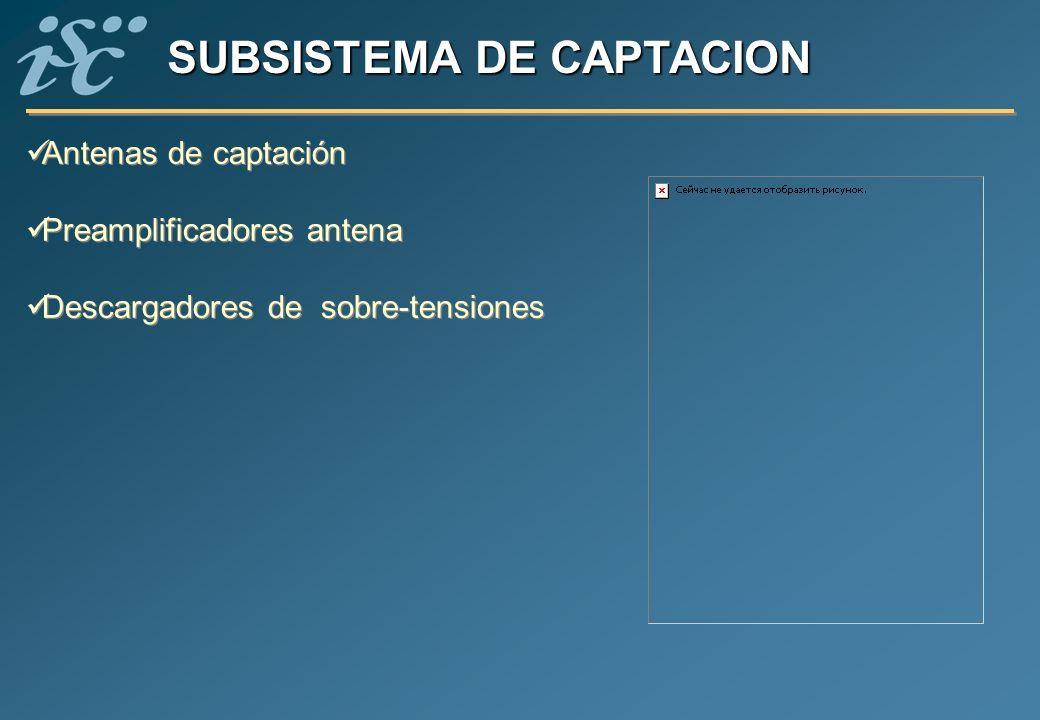 SUBSISTEMA DE CAPTACION Antenas de captación Preamplificadores antena Descargadores de sobre-tensiones Antenas de captación Preamplificadores antena D