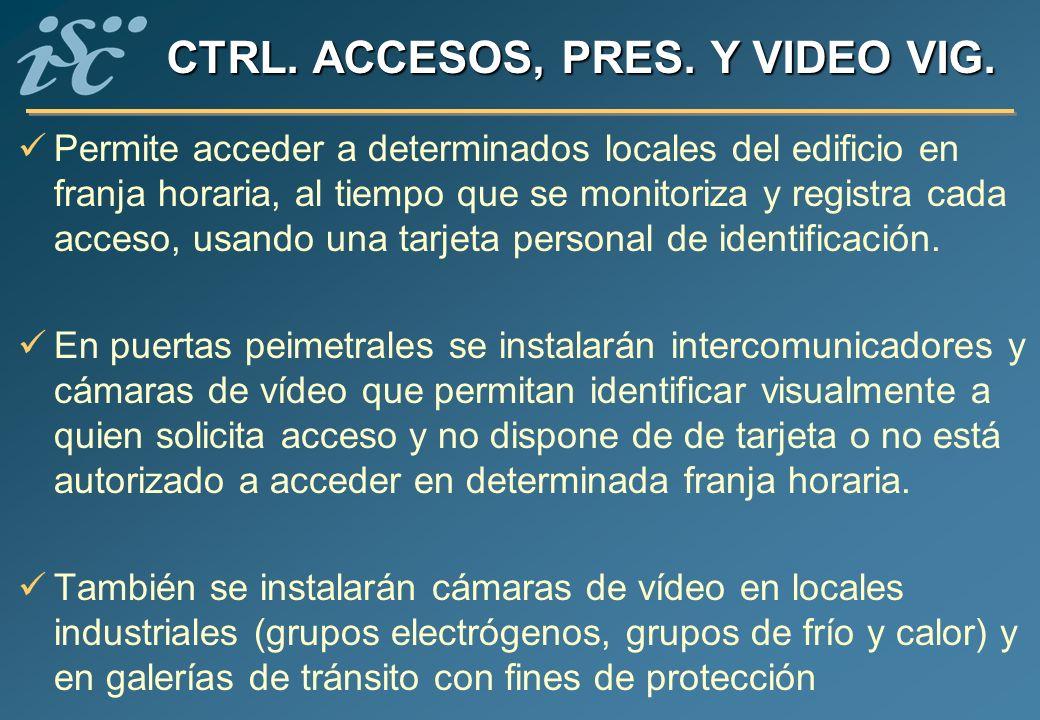 CTRL. ACCESOS, PRES. Y VIDEO VIG. Permite acceder a determinados locales del edificio en franja horaria, al tiempo que se monitoriza y registra cada a