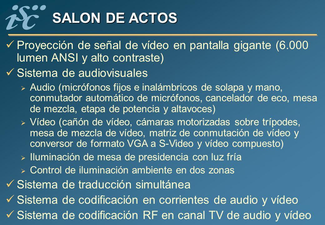 SALON DE ACTOS Proyección de señal de vídeo en pantalla gigante (6.000 lumen ANSI y alto contraste) Sistema de audiovisuales Audio (micrófonos fijos e