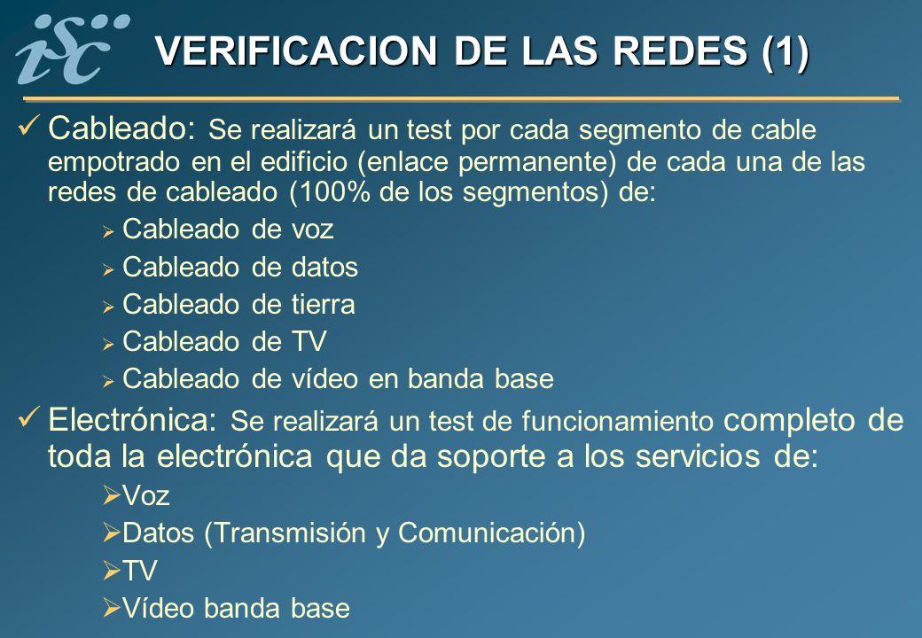 VERIFICACION DE LAS REDES (1) Cableado: Se realizará un test por cada segmento de cable empotrado en el edificio (enlace permanente) de cada una de la