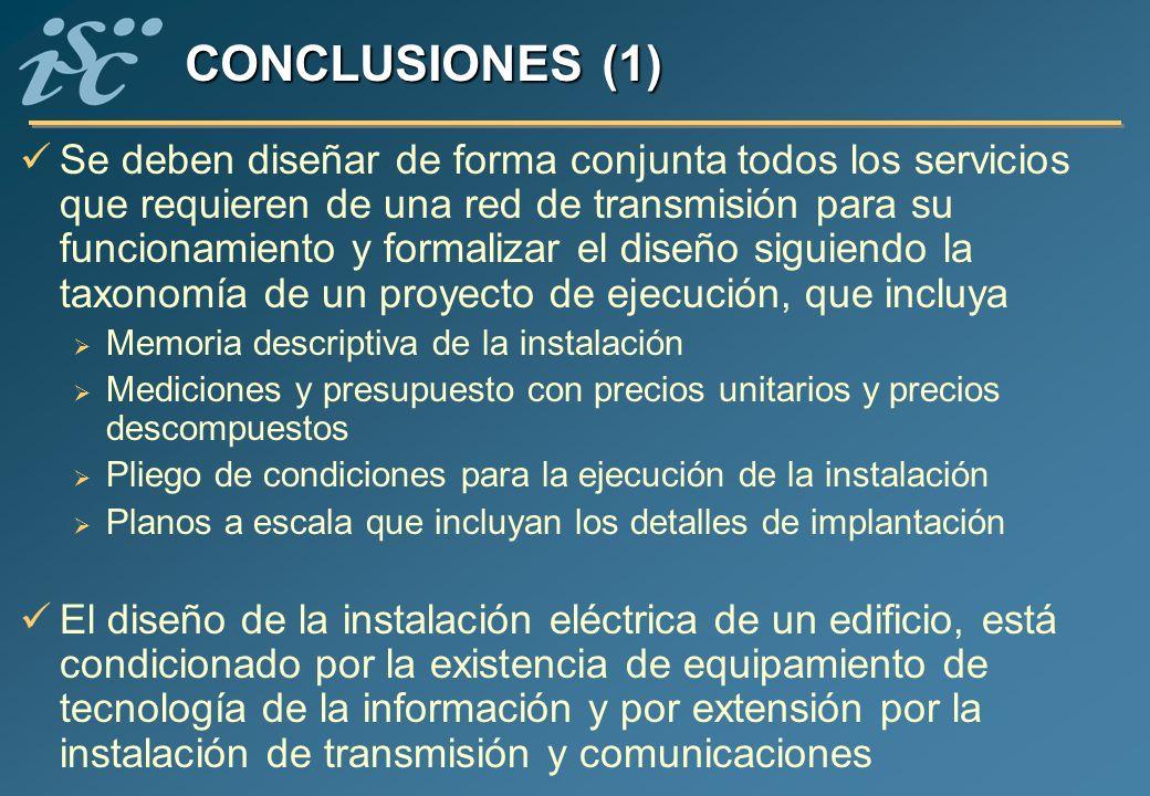 CONCLUSIONES (1) Se deben diseñar de forma conjunta todos los servicios que requieren de una red de transmisión para su funcionamiento y formalizar el