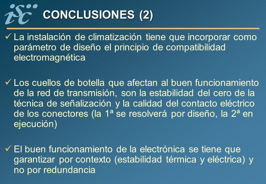 CONCLUSIONES (2) La instalación de climatización tiene que incorporar como parámetro de diseño el principio de compatibilidad electromagnética Los cue