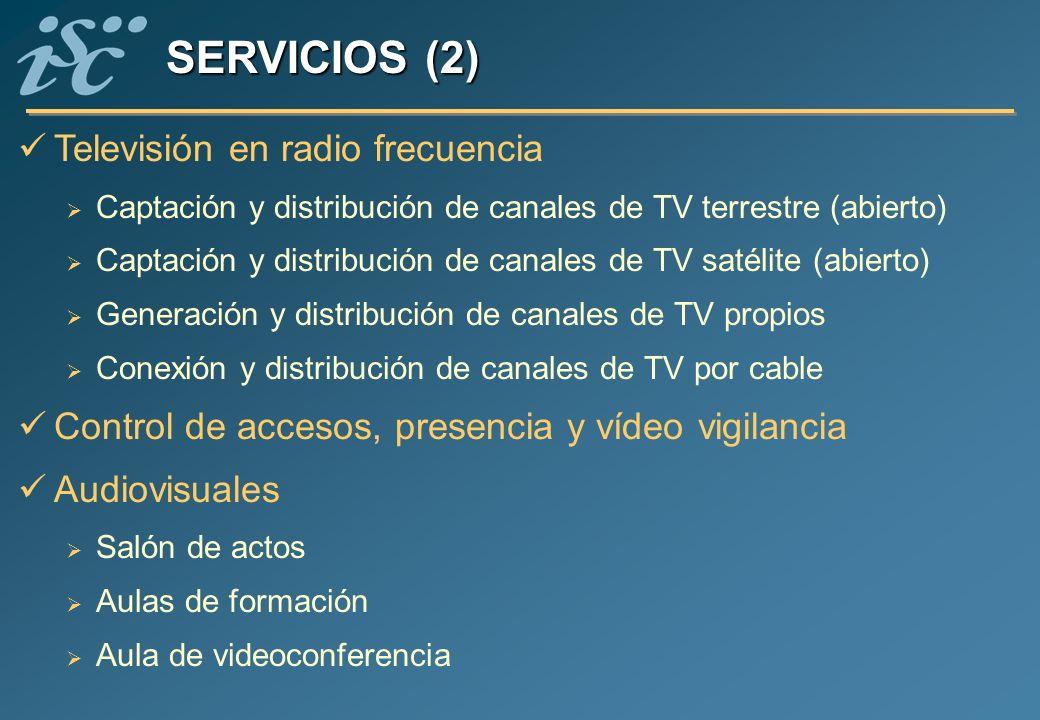 Televisión en radio frecuencia Captación y distribución de canales de TV terrestre (abierto) Captación y distribución de canales de TV satélite (abier