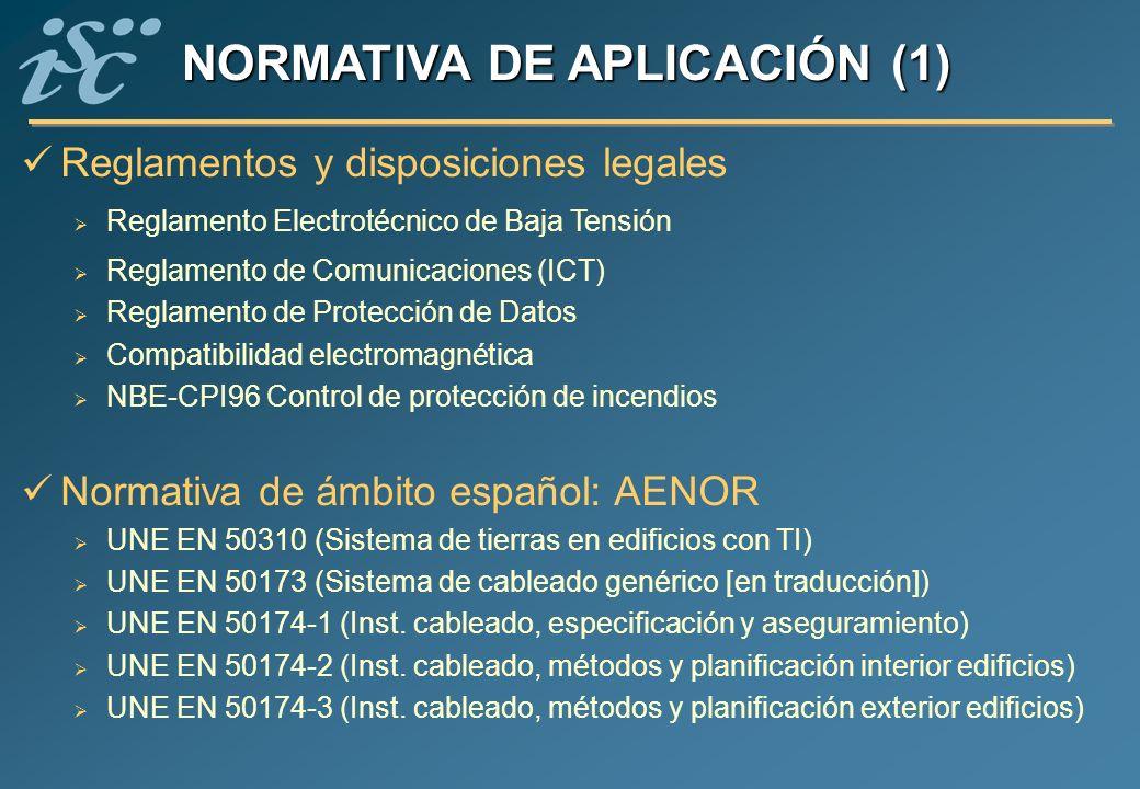 Reglamentos y disposiciones legales Reglamento Electrotécnico de Baja Tensión Reglamento de Comunicaciones (ICT) Reglamento de Protección de Datos Com