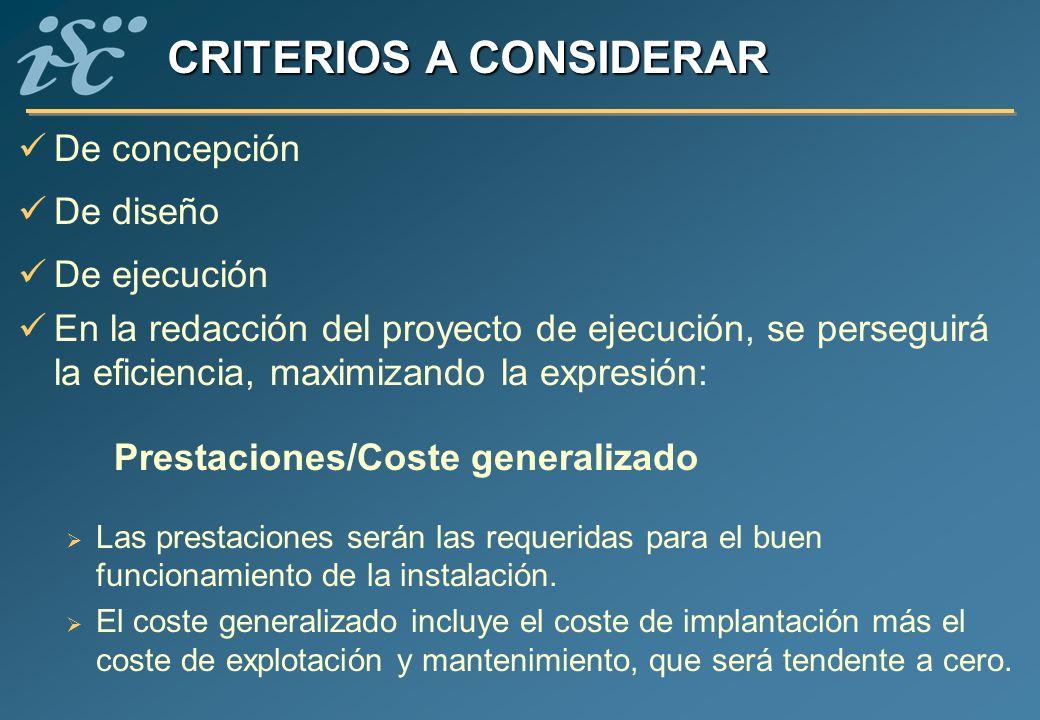 De concepción De diseño De ejecución En la redacción del proyecto de ejecución, se perseguirá la eficiencia, maximizando la expresión: Prestaciones/Co