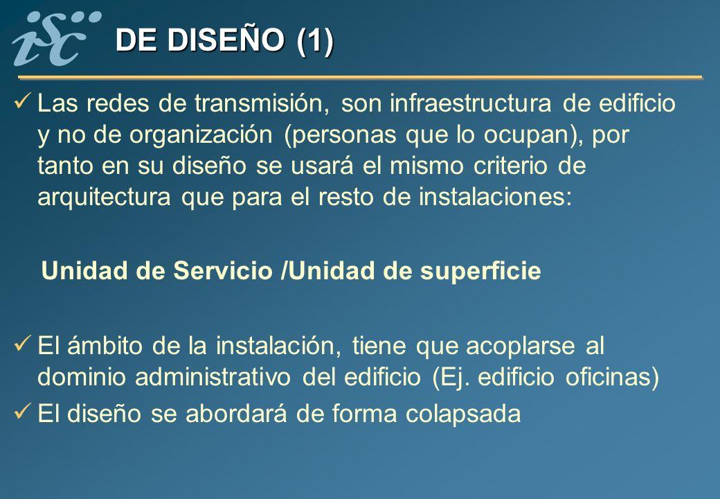 Las redes de transmisión, son infraestructura de edificio y no de organización (personas que lo ocupan), por tanto en su diseño se usará el mismo crit