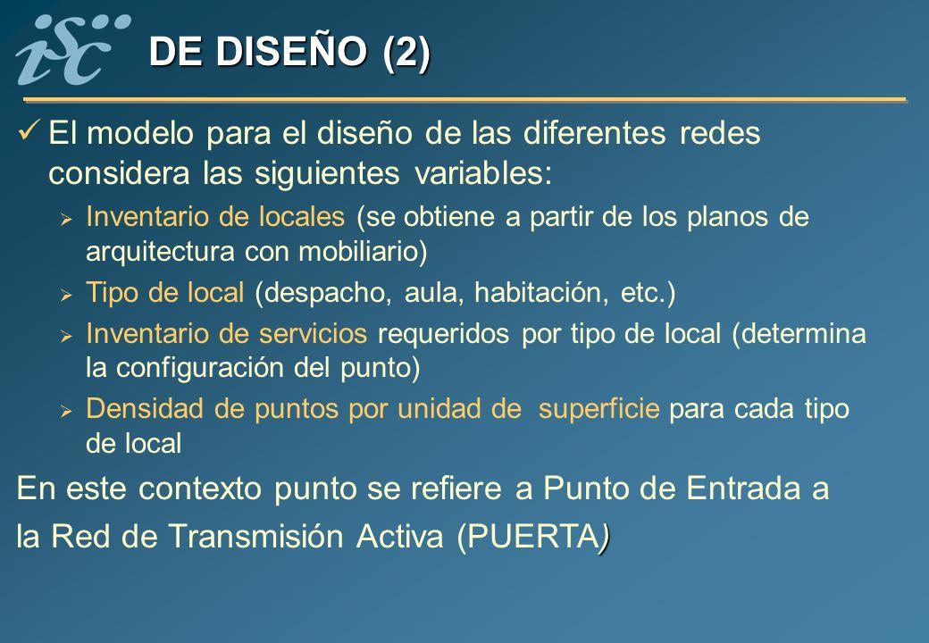 El modelo para el diseño de las diferentes redes considera las siguientes variables: Inventario de locales (se obtiene a partir de los planos de arqui
