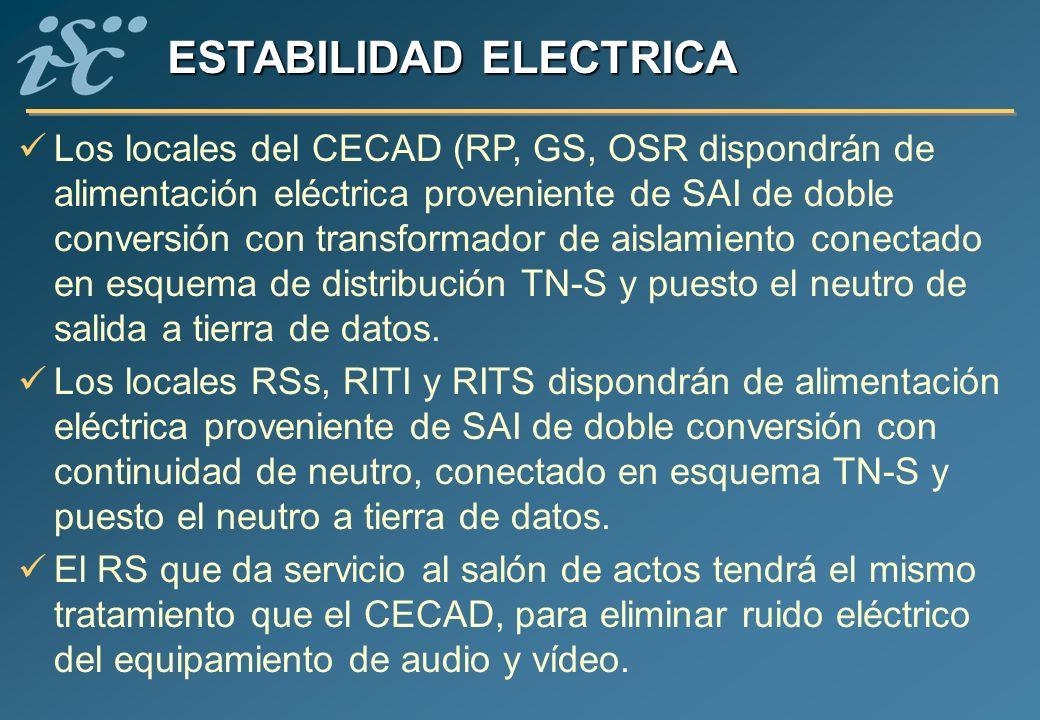 ESTABILIDAD ELECTRICA Los locales del CECAD (RP, GS, OSR dispondrán de alimentación eléctrica proveniente de SAI de doble conversión con transformador