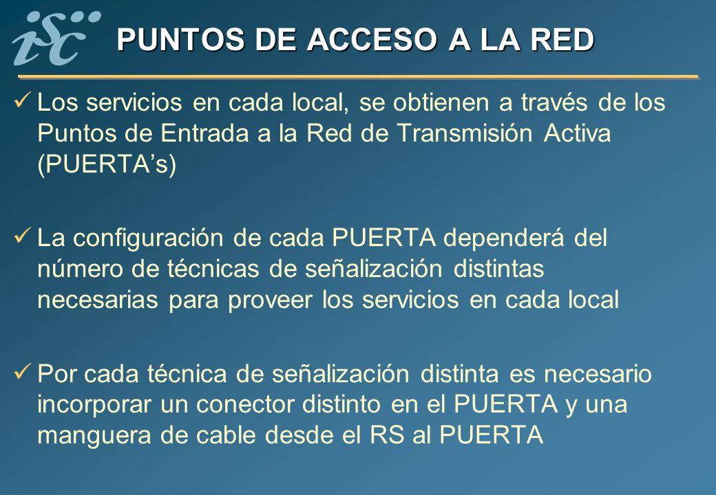 PUNTOS DE ACCESO A LA RED Los servicios en cada local, se obtienen a través de los Puntos de Entrada a la Red de Transmisión Activa (PUERTAs) La confi