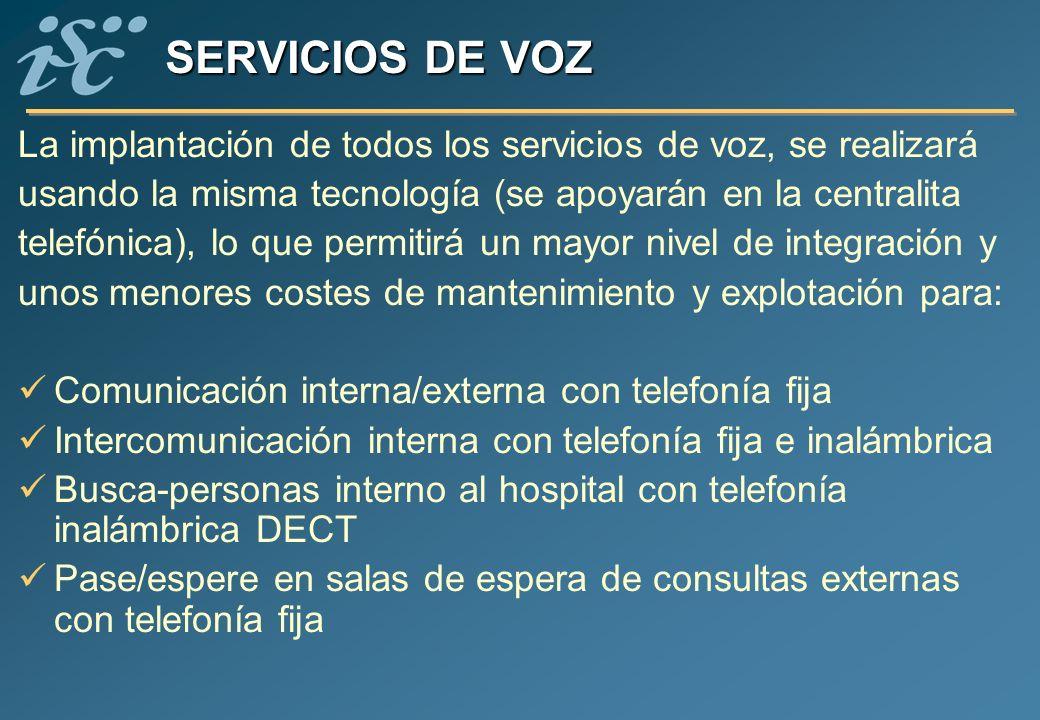 SERVICIOS DE VOZ La implantación de todos los servicios de voz, se realizará usando la misma tecnología (se apoyarán en la centralita telefónica), lo