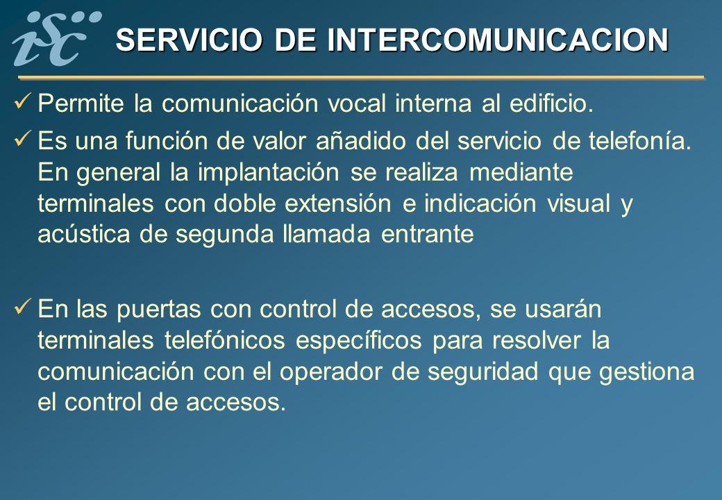 SERVICIO DE INTERCOMUNICACION Permite la comunicación vocal interna al edificio. Es una función de valor añadido del servicio de telefonía. En general