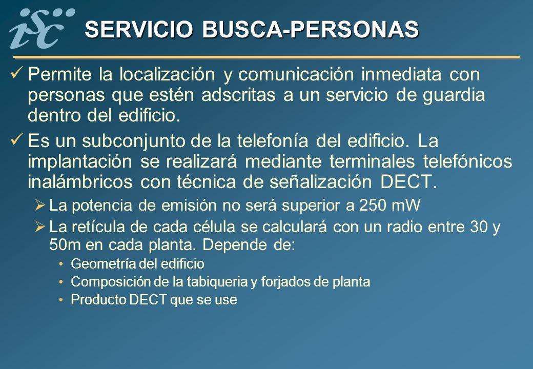 SERVICIO BUSCA-PERSONAS Permite la localización y comunicación inmediata con personas que estén adscritas a un servicio de guardia dentro del edificio