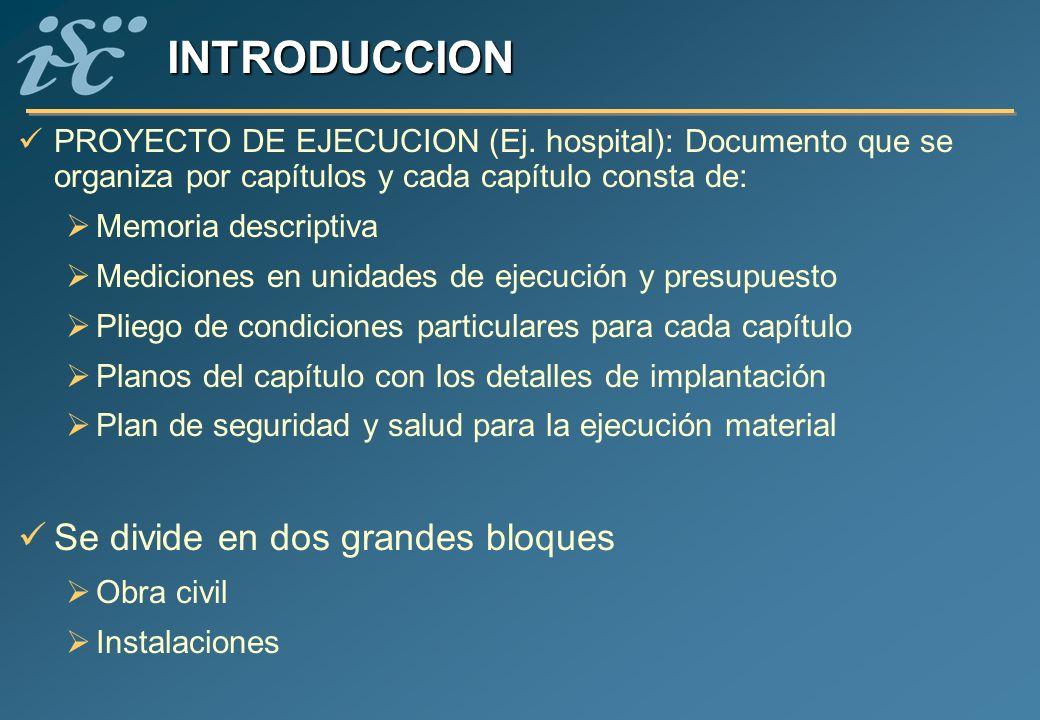 PROYECTO DE EJECUCION (Ej. hospital): Documento que se organiza por capítulos y cada capítulo consta de: Memoria descriptiva Mediciones en unidades de