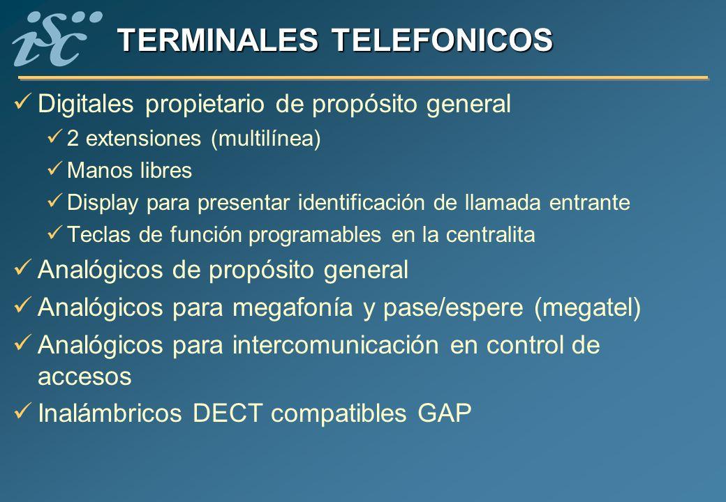 TERMINALES TELEFONICOS Digitales propietario de propósito general 2 extensiones (multilínea) Manos libres Display para presentar identificación de lla