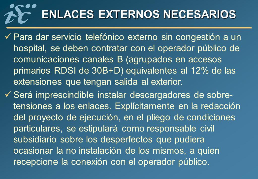 ENLACES EXTERNOS NECESARIOS Para dar servicio telefónico externo sin congestión a un hospital, se deben contratar con el operador público de comunicac