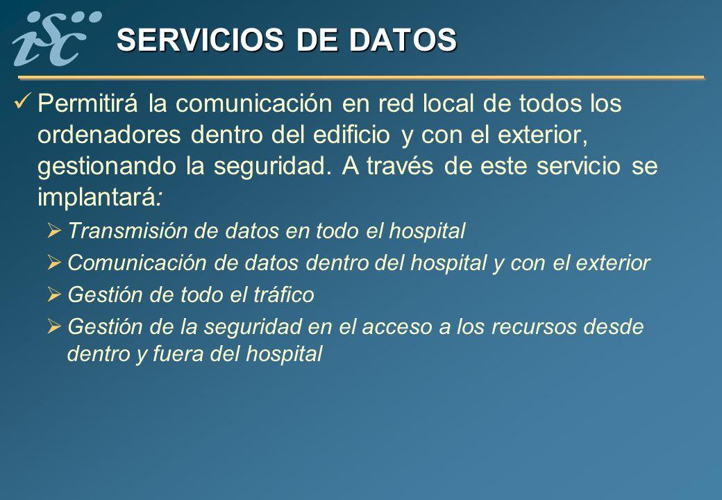 SERVICIOS DE DATOS Permitirá la comunicación en red local de todos los ordenadores dentro del edificio y con el exterior, gestionando la seguridad. A