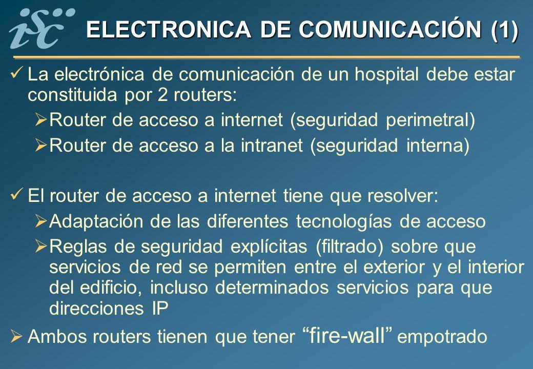 ELECTRONICA DE COMUNICACIÓN (1) La electrónica de comunicación de un hospital debe estar constituida por 2 routers: Router de acceso a internet (segur