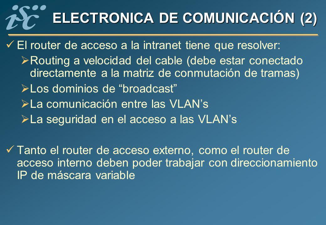 ELECTRONICA DE COMUNICACIÓN (2) El router de acceso a la intranet tiene que resolver: Routing a velocidad del cable (debe estar conectado directamente