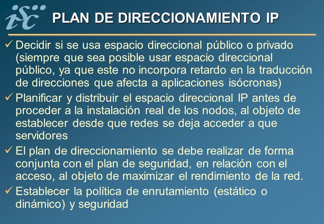 PLAN DE DIRECCIONAMIENTO IP Decidir si se usa espacio direccional público o privado (siempre que sea posible usar espacio direccional público, ya que