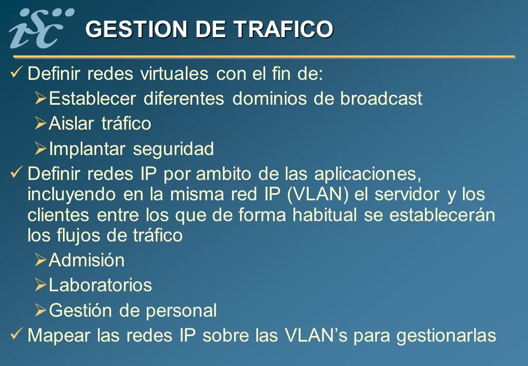 GESTION DE TRAFICO Definir redes virtuales con el fin de: Establecer diferentes dominios de broadcast Aislar tráfico Implantar seguridad Definir redes