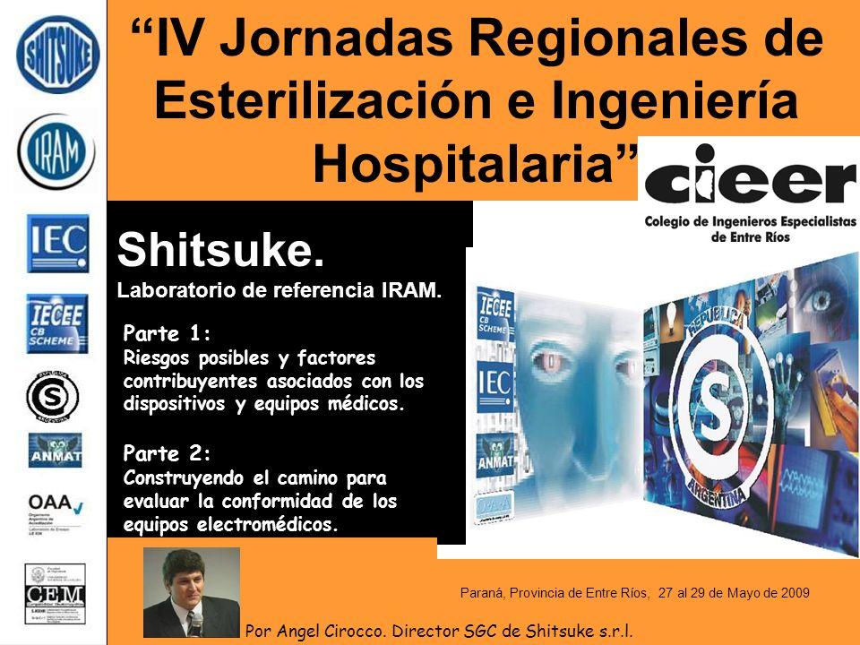 IV Jornadas Regionales de Esterilización e Ingeniería Hospitalaria Parte 1: Riesgos posibles y factores contribuyentes asociados con los dispositivos y equipos médicos.