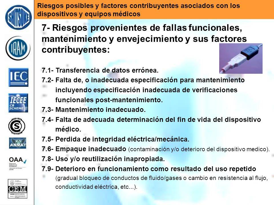 Riesgos posibles y factores contribuyentes asociados con los dispositivos y equipos médicos 7- Riesgos provenientes de fallas funcionales, mantenimien