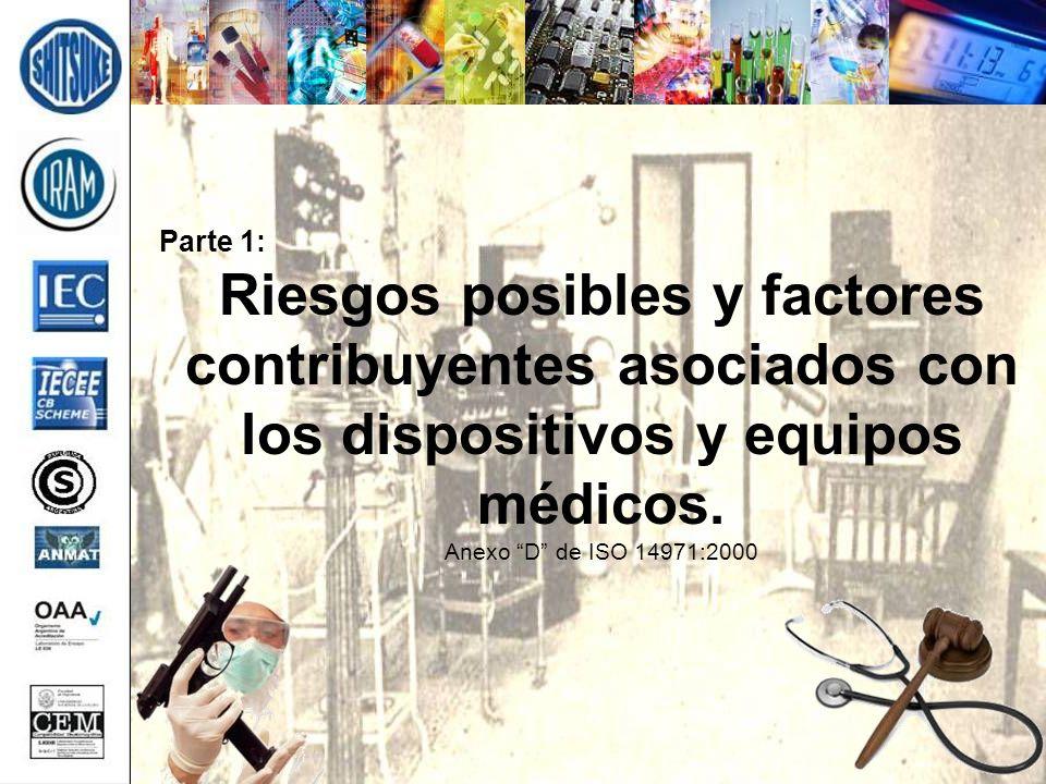 Parte 1: Riesgos posibles y factores contribuyentes asociados con los dispositivos y equipos médicos. Anexo D de ISO 14971:2000