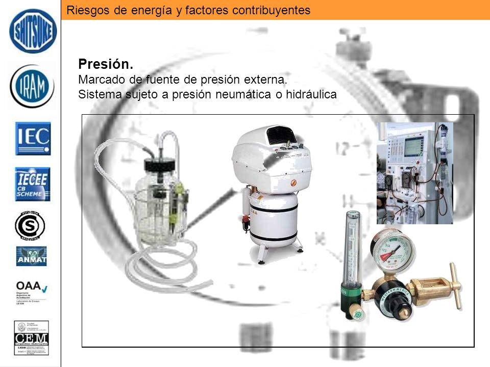 Riesgos de energía y factores contribuyentes Presión. Marcado de fuente de presión externa. Sistema sujeto a presión neumática o hidráulica