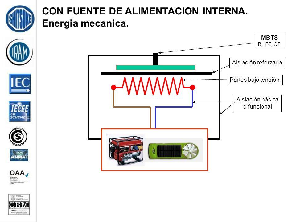CON FUENTE DE ALIMENTACION INTERNA. Energia mecanica. Partes bajo tensión Aislación básica o funcional Aislación reforzada MBTS B, BF, CF.