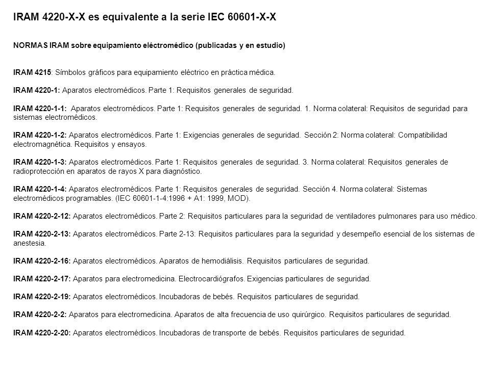 IRAM 4220-X-X es equivalente a la serie IEC 60601-X-X NORMAS IRAM sobre equipamiento eléctromédico (publicadas y en estudio) IRAM 4215: Símbolos gráficos para equipamiento eléctrico en práctica médica.