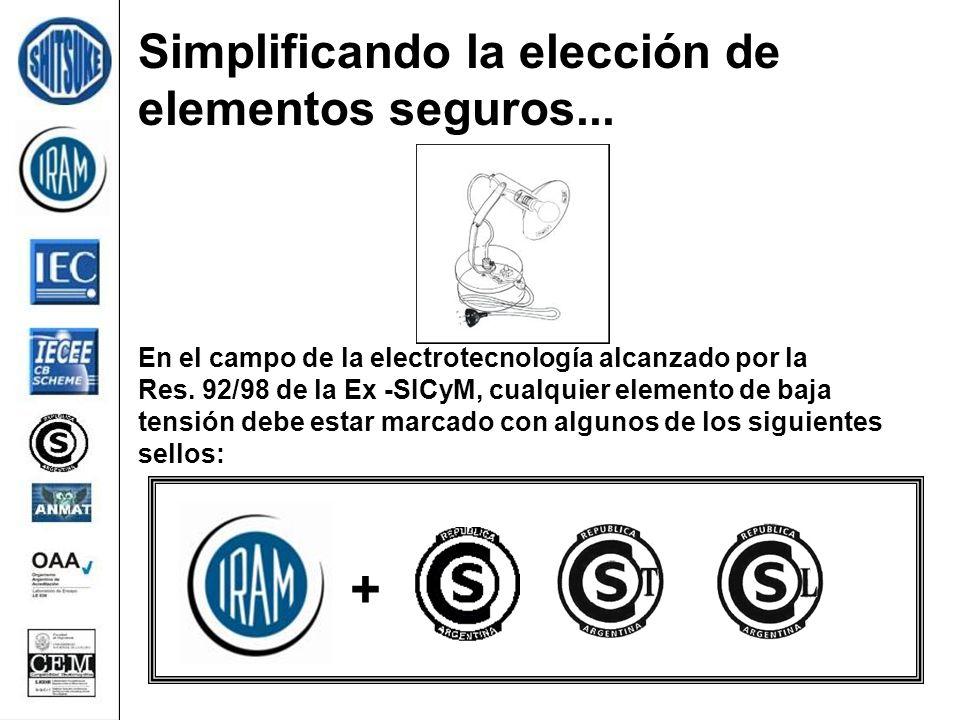+ Simplificando la elección de elementos seguros... En el campo de la electrotecnología alcanzado por la Res. 92/98 de la Ex -SICyM, cualquier element