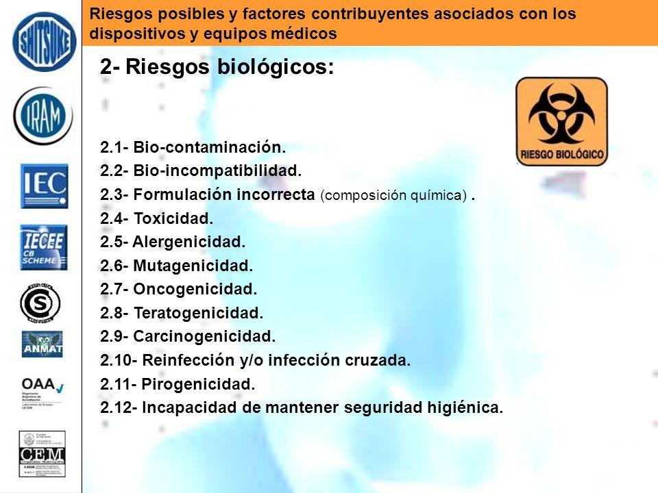 Riesgos posibles y factores contribuyentes asociados con los dispositivos y equipos médicos 2- Riesgos biológicos: 2.1- Bio-contaminación. 2.2- Bio-in