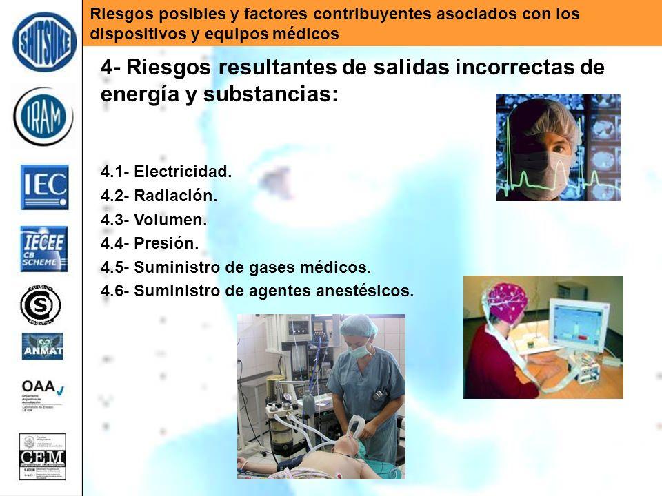 Riesgos posibles y factores contribuyentes asociados con los dispositivos y equipos médicos 4- Riesgos resultantes de salidas incorrectas de energía y substancias: 4.1- Electricidad.