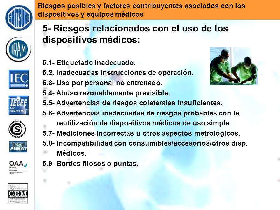 Riesgos posibles y factores contribuyentes asociados con los dispositivos y equipos médicos 5- Riesgos relacionados con el uso de los dispositivos méd