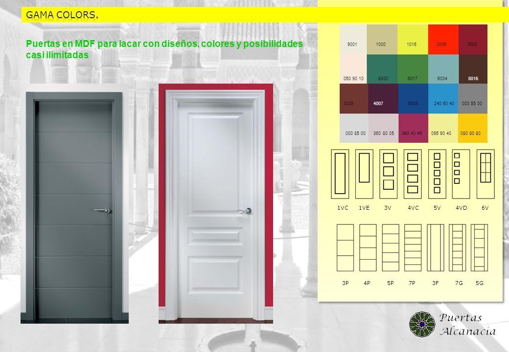 Puertas en MDF para lacar con diseños, colores y posibilidades casi ilimitadas 3P 4P 5P 7P 3F 7G 5G 1VC 1VE 3V 4VC 5V 4VD 6V 9001 1000 1016 2005 3003