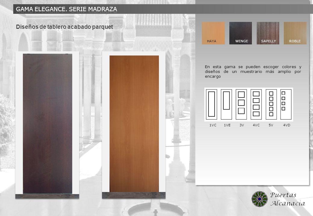 Diseños de tablero acabado parquet 1VC 1VE 3V 4VC 5V 4VD HAYA WENGE SAPELLY ROBLE En esta gama se pueden escoger colores y diseños de un muestrario má