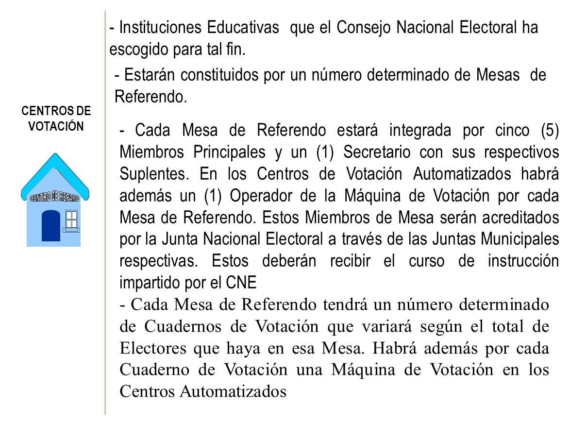 CENTROS DE VOTACIÓN - Instituciones Educativas que el Consejo Nacional Electoral ha escogido para tal fin. - Estarán constituidos por un número determ